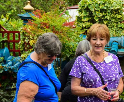 Ann and Gill survey the plants for sale