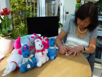 Ching and some knitted bunnies