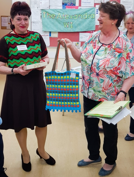 Decorated bag competition winner Tamara Watts.