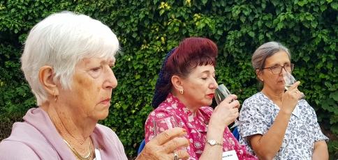 Joan, Tamara and Rosanna are verious serious wine tasters!